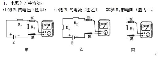 4,注意事项          ⑴会画欧姆表电路,熟悉表头电极和