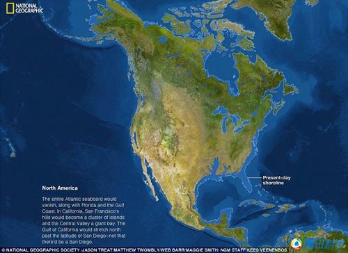[海平面上升300米]组图:海平面上升79米后的世界版图