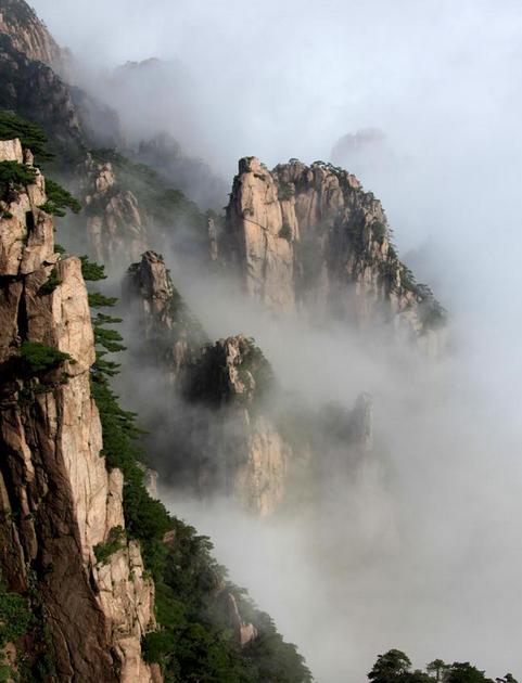 8月9日在黄山风景区拍摄的云海美景.