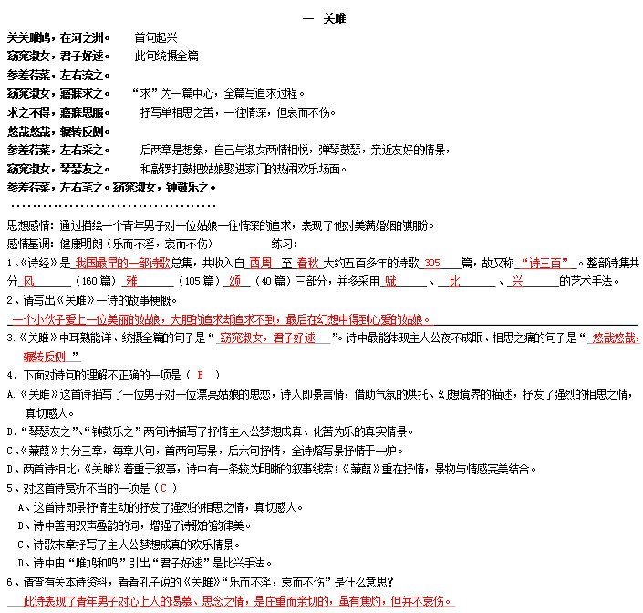 [2015中考语文试题及答案]备战2015中考语文必背文言文之《诗经-关雎》:达标测试