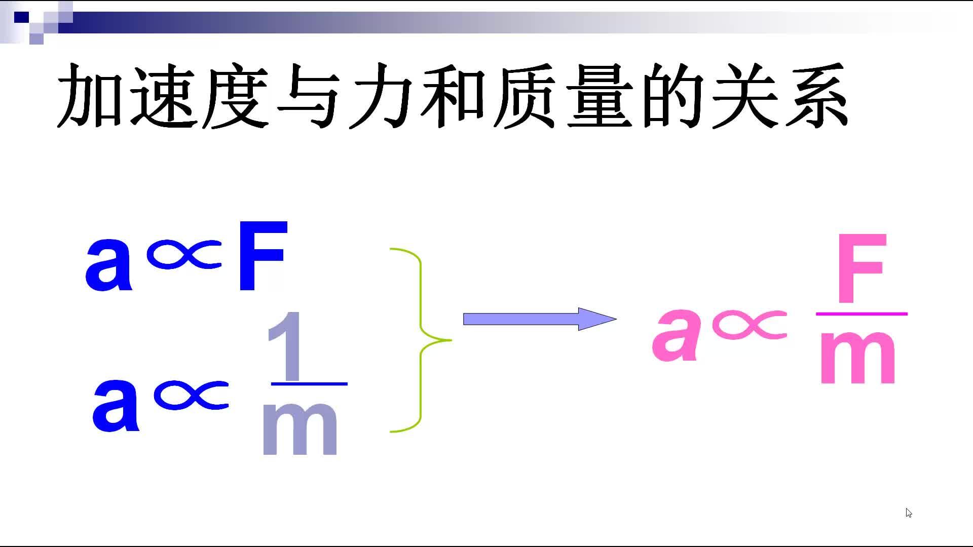 人教版 高一物理 必修1 4.3牛顿第二定律-微课堂
