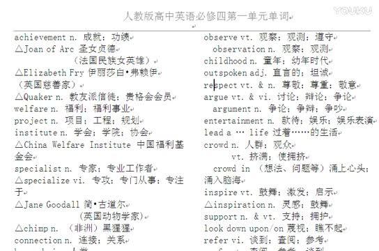 人教版 高一英语必修四 第一单元 单词录音-微课堂