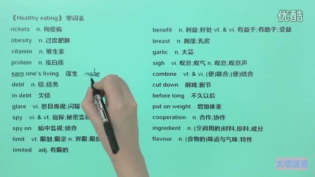 高一英语(必修3)-《Healthy eating》-单词3-微课堂