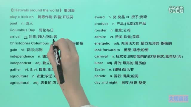高一英语(必修3)-《Festivals around the world》-单词2-微课堂