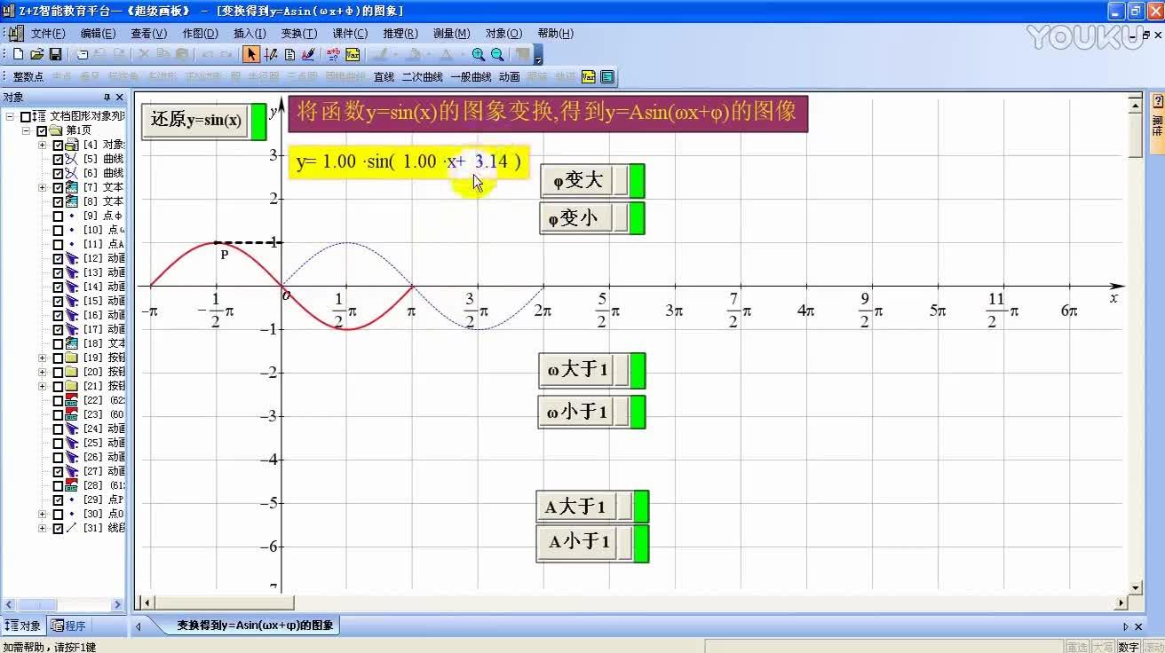 人教版 高一数学必修4 第一章 1.5  函数y=Asin(ωx+φ)-微课堂