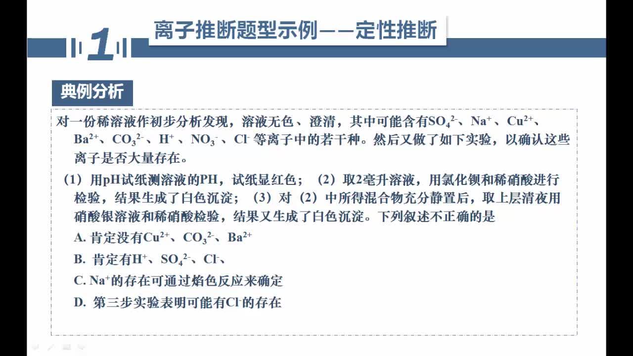 【名师微课】浙江省化学选考复习之无机化学反应疑难突破:离子推断