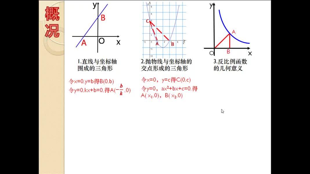 人教版数学九年级(中考)函数背景下的三角形面积问题-微课堂