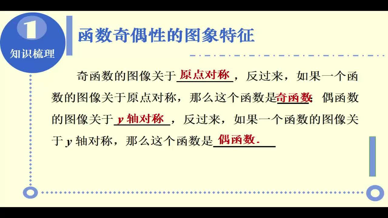 【名校名师微课】高中数学必修一(人教A版)重难点知识突破微课程(浙江专版):单调性与奇偶性的综合问题