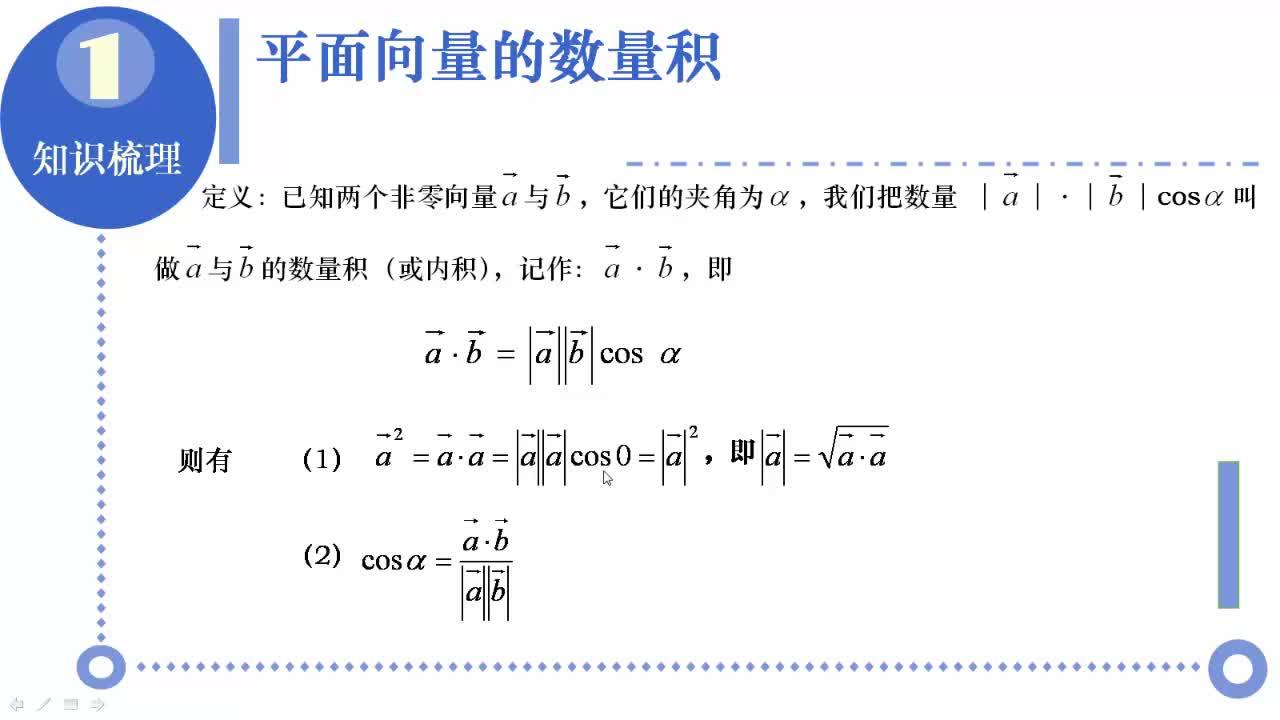 【名校名师微课】高中数学必修一(人教A版)重难点知识突破微课程(浙江专版):向量的模长与夹角