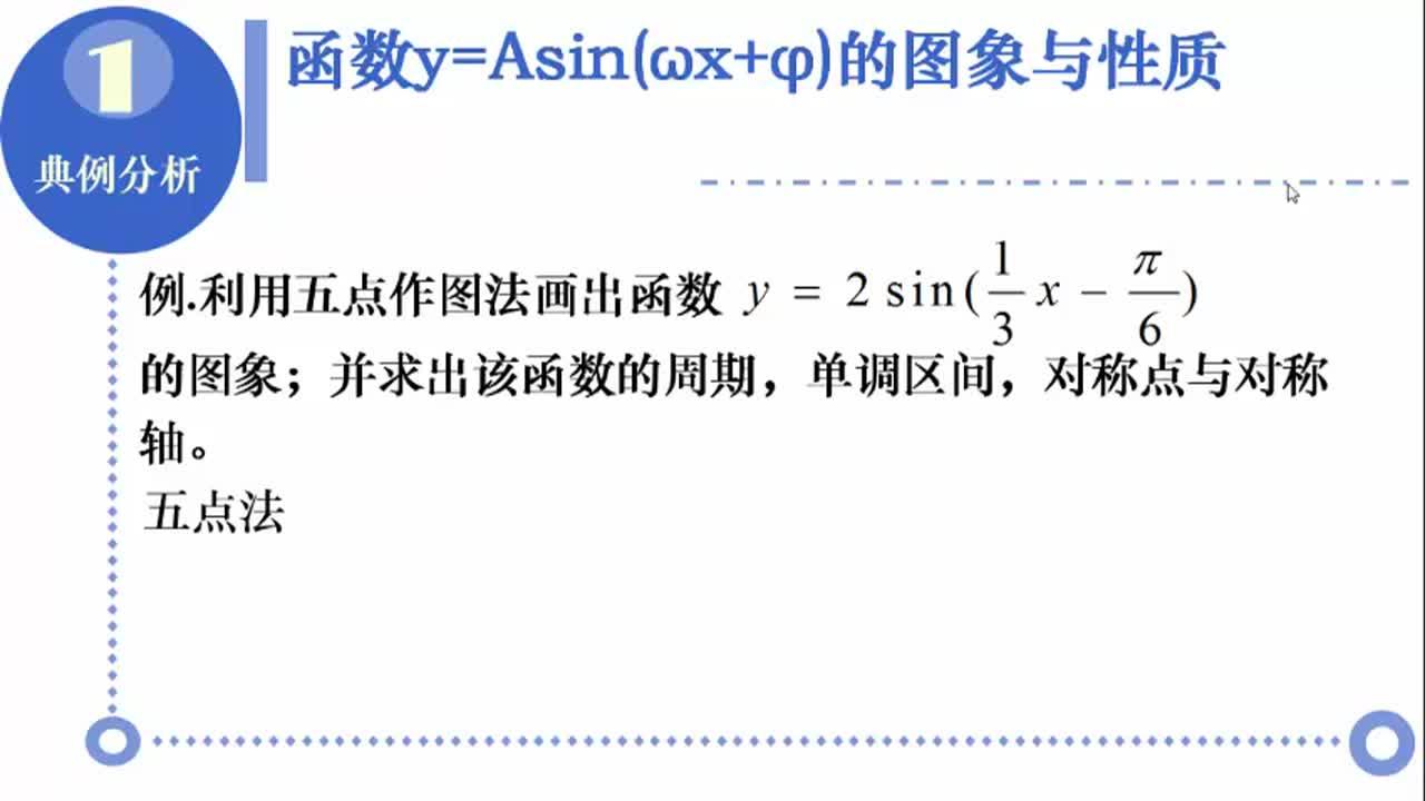 【名校名师微课】高中数学必修四(人教A版)重难点知识突破微课程(浙江专版):函数y=Asin(ωx+φ)的图象与性质
