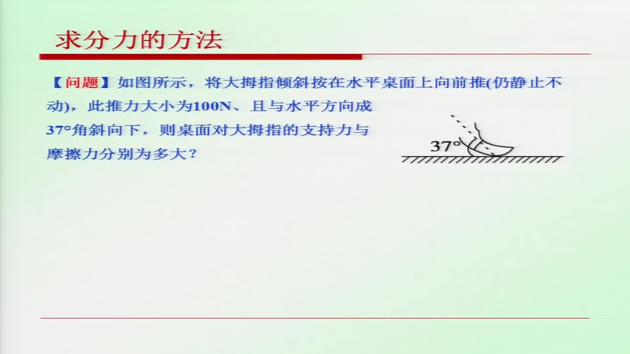 【名校名师微课】人教版高中物理必修1四基目标专题微课程(浙江专版):求分力的方法