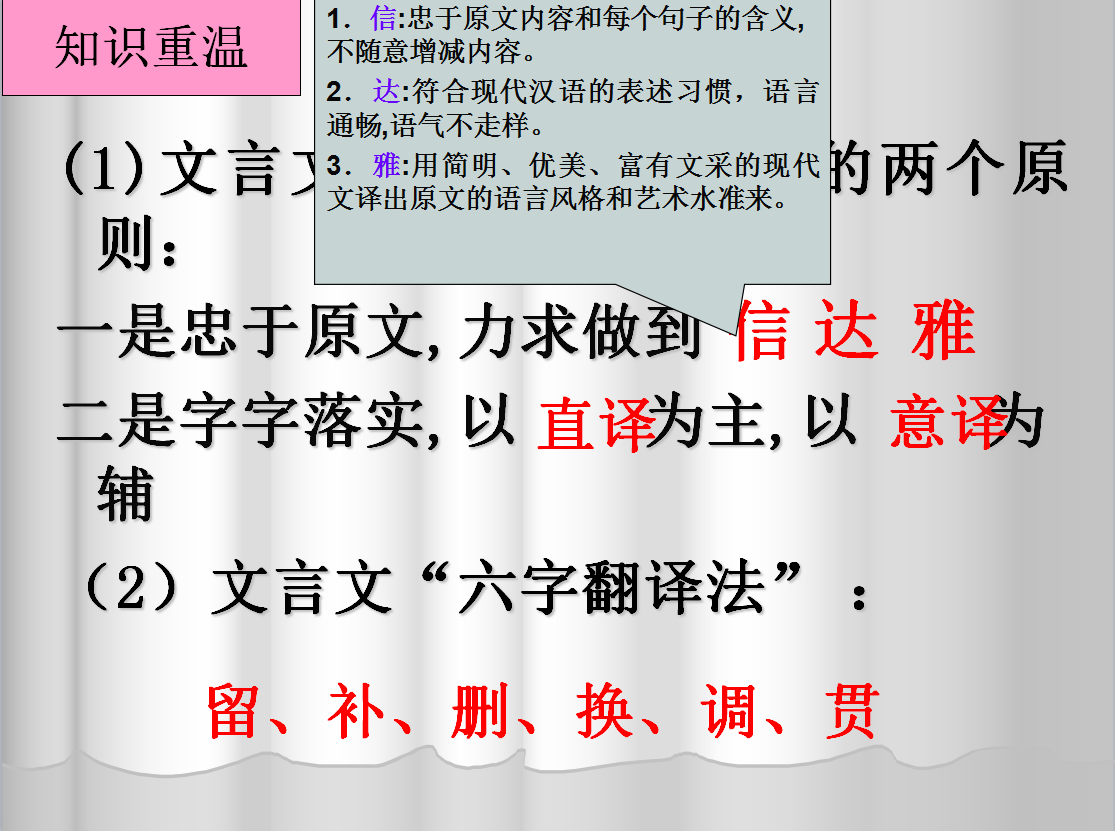 鄂教版 七年级语文上册文言文单元:文言文翻译技巧-微课堂 (2份打包)