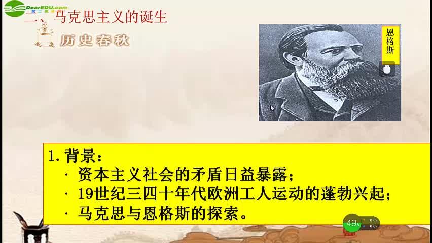 人教部编版 九年级历史上册 第七单元 第21课 马克思主义的诞生-视频微课堂