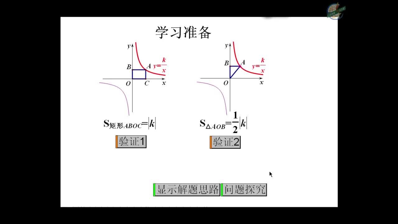 人教版 九年级数学下册 26.2探究与反比例函数中的面积问题