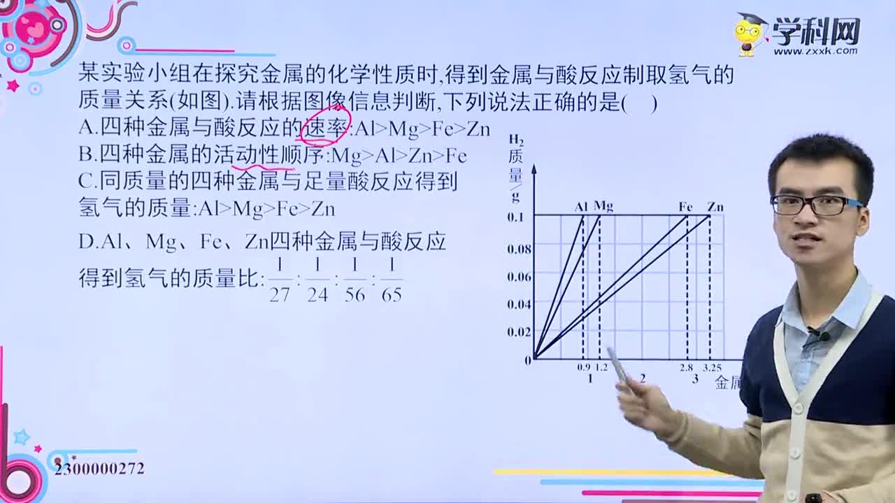 金属和酸反应相关图象问题2—试题视频