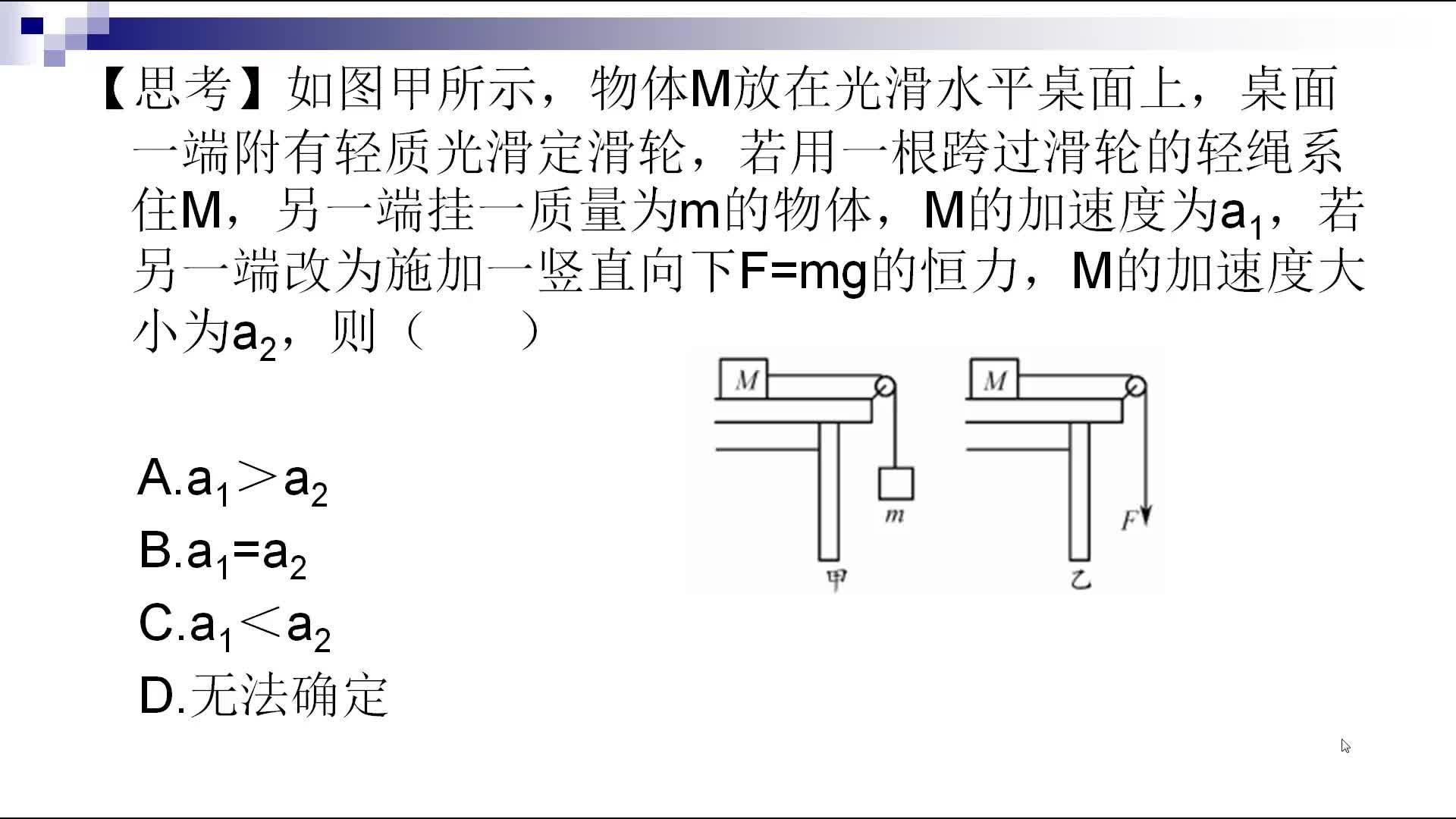 人教版 高一物理 必修一 4.6 加速度比较(牛顿运动定律难点辨析)-视频微课堂