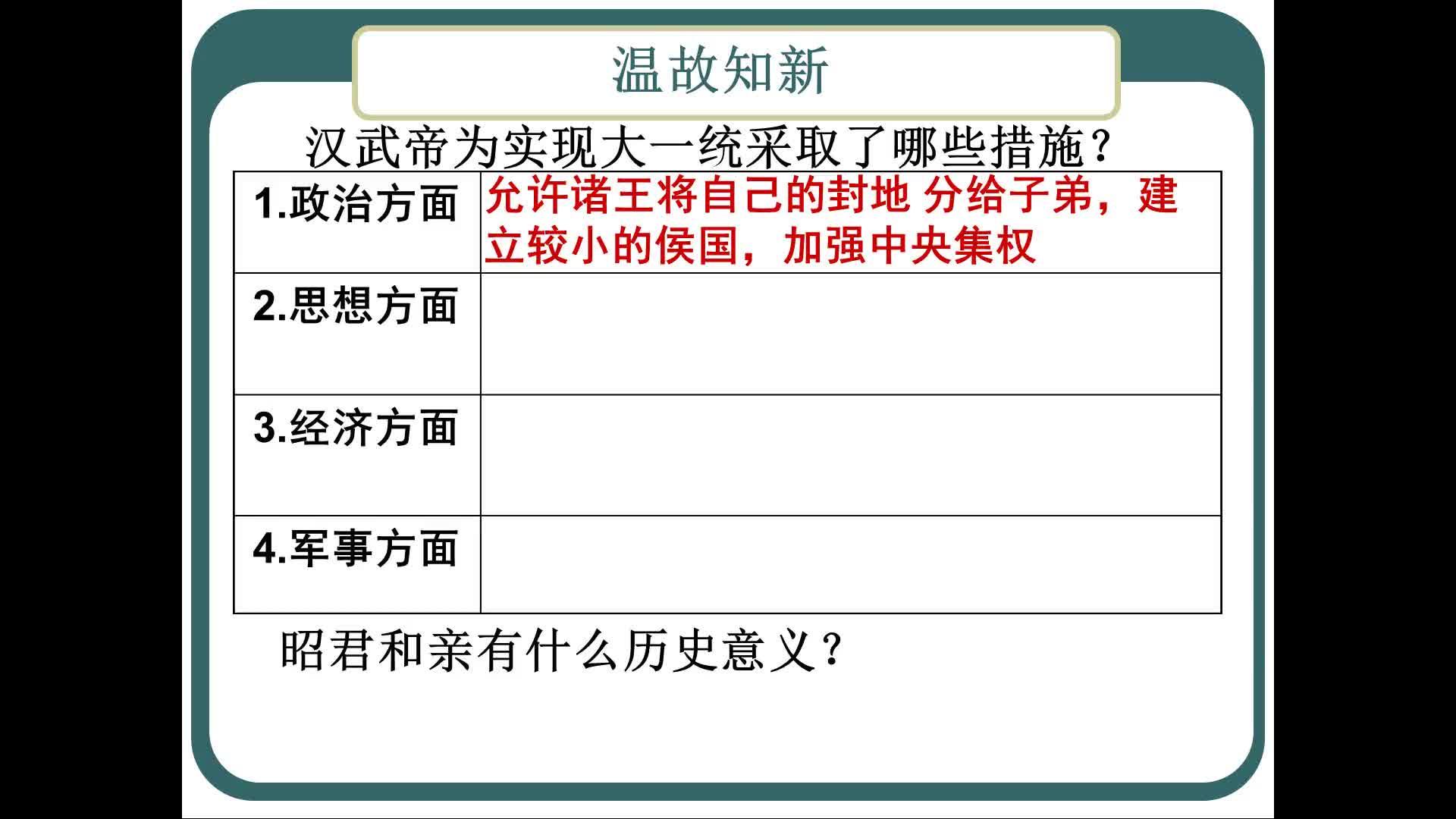 部編版 七年級歷史上冊 第三單元 第14課 漢通西域和絲綢之路-課堂實錄