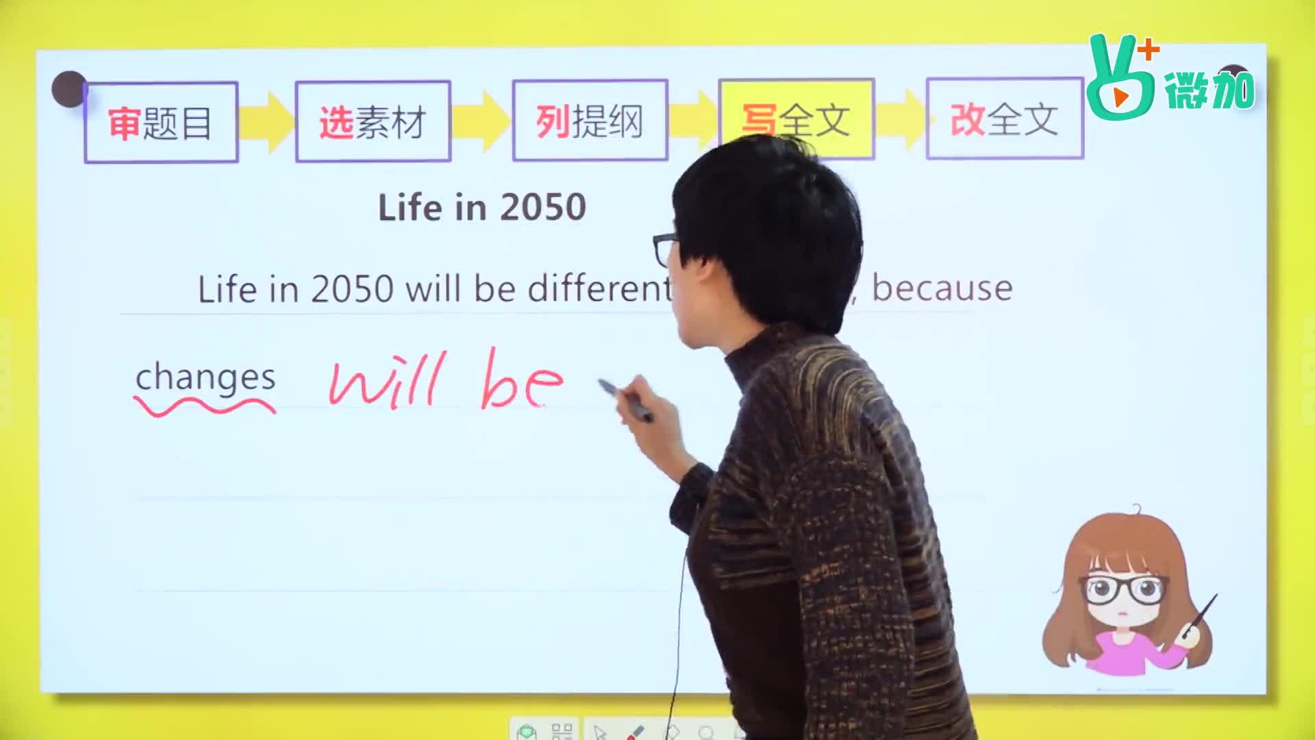 视频14 书面表达之实战演练(三)中-【微加】史莱克学英语系列八年级书面表达