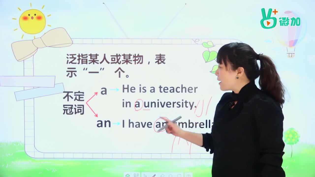 视频16 冠词(4)-【微加】初中1分钟学英语微课