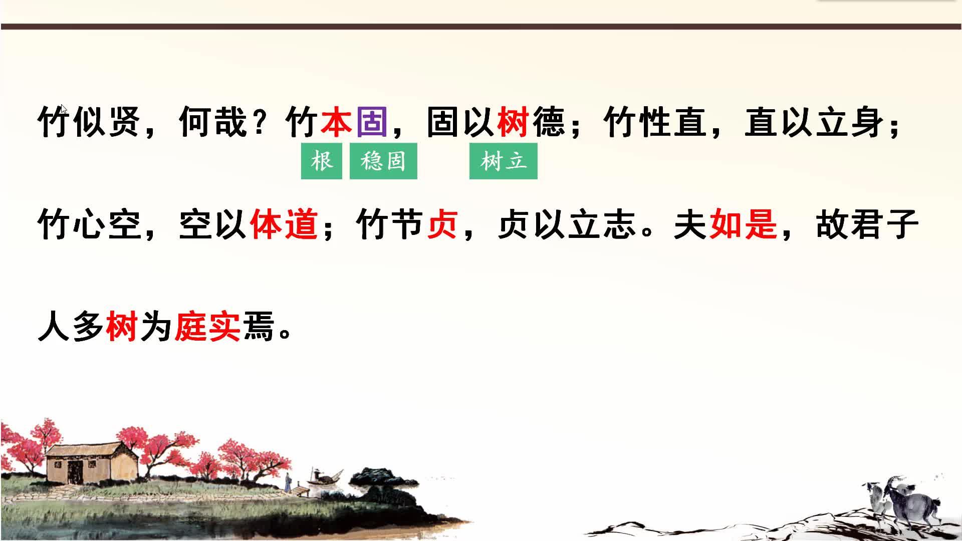 中考语文组合阅读文言文突破训练:7.养竹记-视频微课堂
