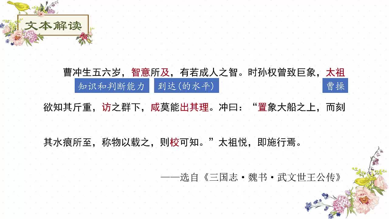 七年级语文课外阅读文言文突破训练:25.曹冲称象-视频微课堂