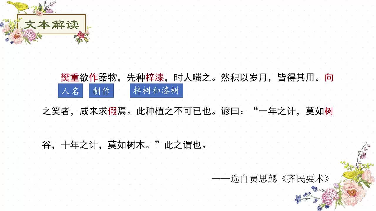 七年级语文课外阅读文言文突破训练:66.樊重树木-视频微课堂