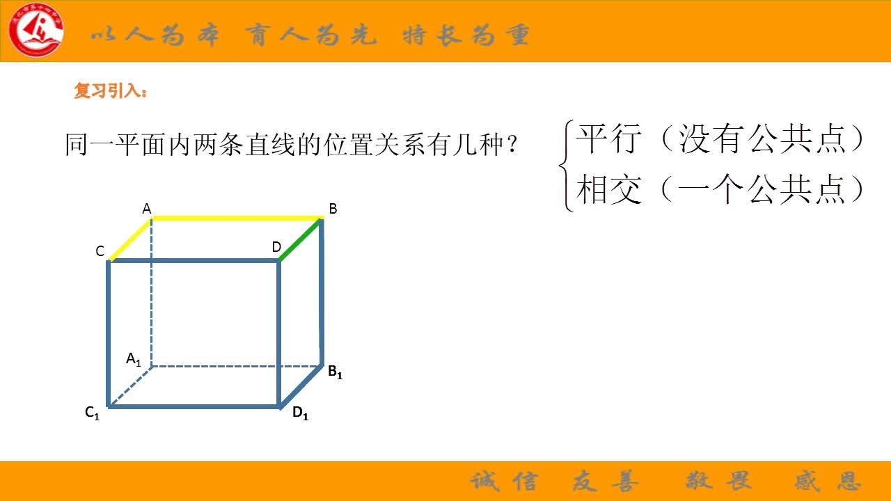 高一数学必修二  2.1.2空间两条直线的位置关系-视频微课堂