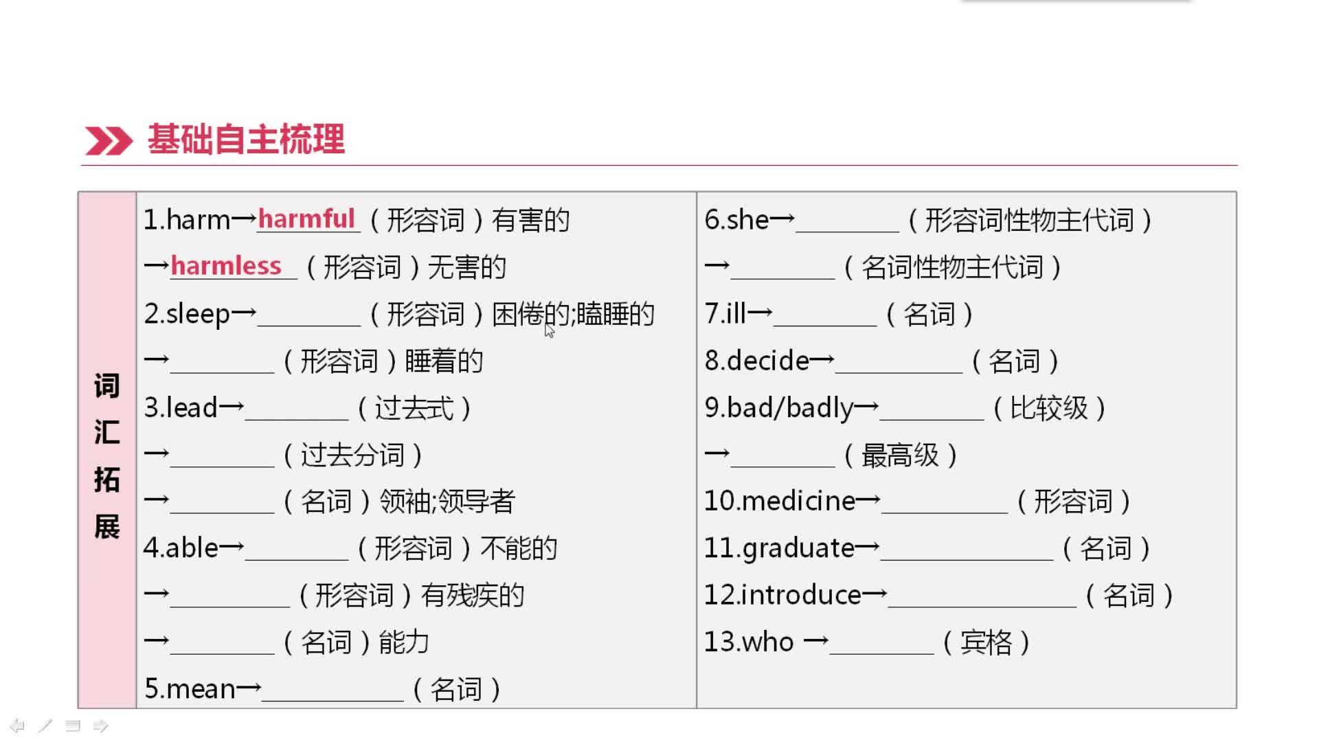 冀教版 九年级英语 第13课时 Unit 1-2(九全)-视频微课堂