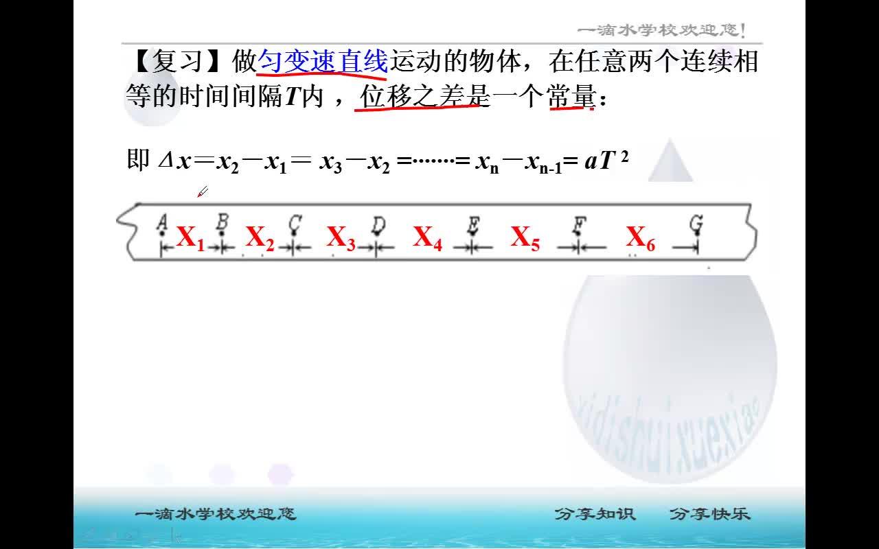 第2章 第3.4節 專題:逐差法求加速度(視頻)-高中物理 必修1【一滴水】