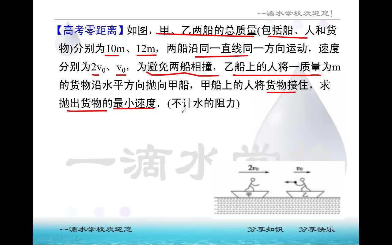 第1章 第3.7节  动量守恒中的临界问题-高中物理 选修3-5 动量 动量守恒定律【一滴水】
