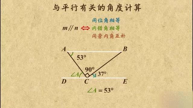 人教版七年級數學下冊  5.3與平行線有關的計算    微課視頻