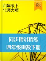 四年级奥数下册同步精讲精练(北师大版)
