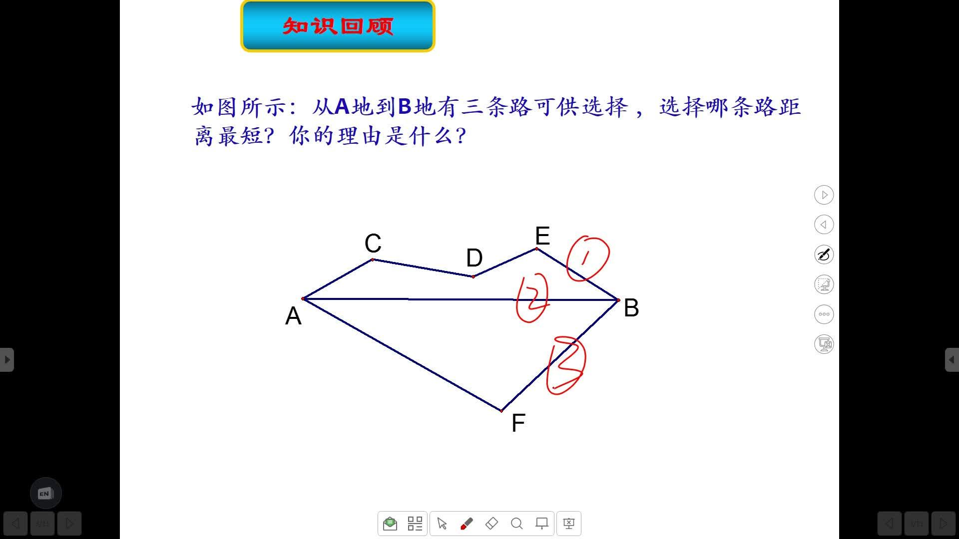 【本视频仅允许在线观看,不支持下载】 课题学习 最短路径问题 教学目标 1.理解并掌握平面内一条直线同侧两个点到直线上的某一点距离之和为最小值时点的位置的确定. 2.理解并掌握平面内两平行线异侧有两个点,则在平行线间何处作垂线段使得顺次连接的三条线段之和最小的位置的确定.  [来自e网通客户端]