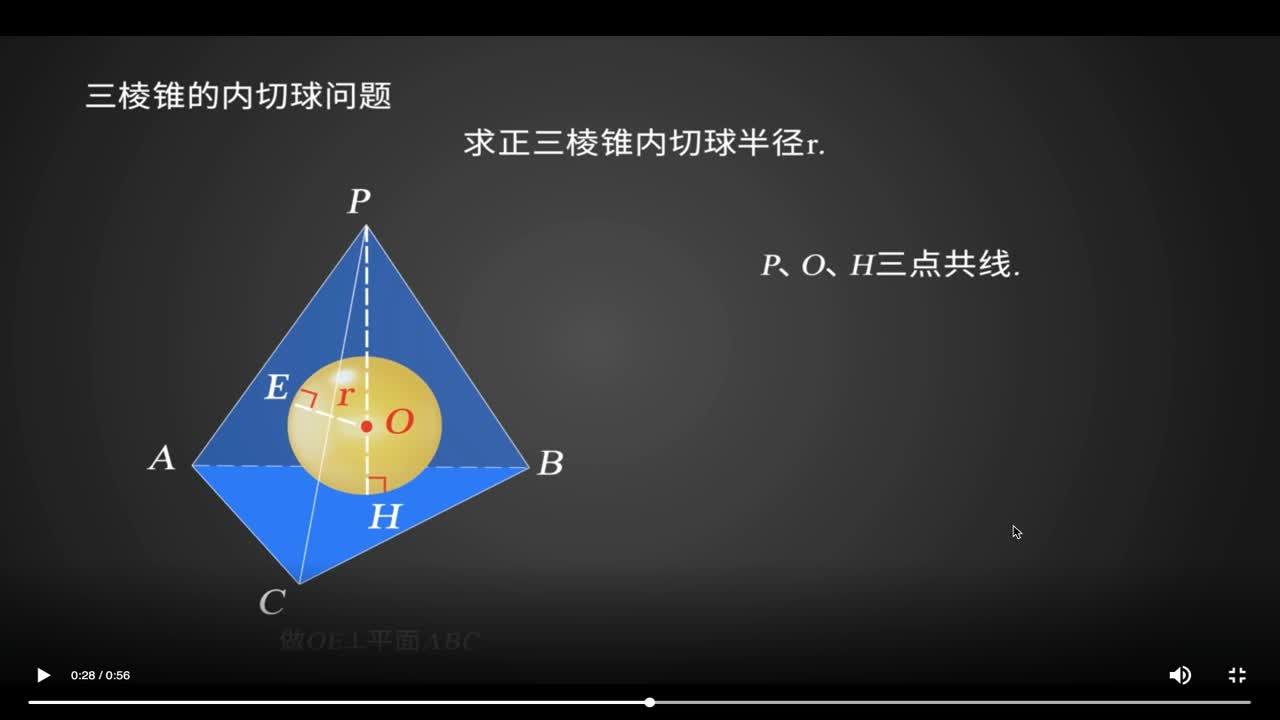 1.3 正三棱锥内的切球问题-【火花学院】人教A版 高一数学必修2微课