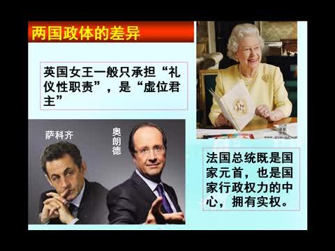 人教版 高中政治 英法两国政体的异同-视频微课堂