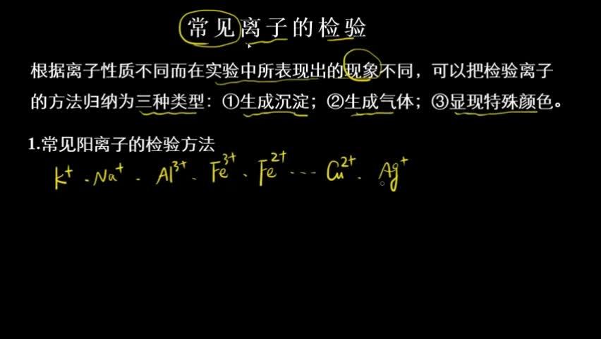常见离子的检验方法  根据离子性质不同而在实验中所表现出的现象不同,可以把检验离子的方法归纳为三种类型:①生成沉淀;②生成气体;③显现特殊颜色。 [来自e网通客户端]