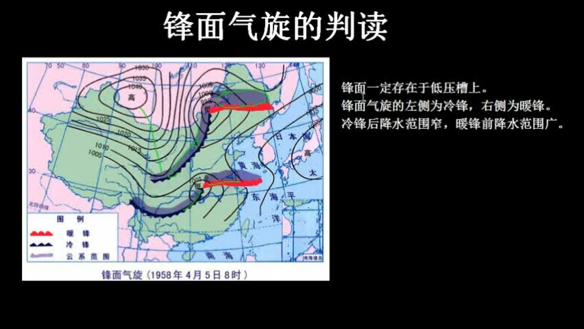 人教版 必修1 考点 锋面气旋的判读