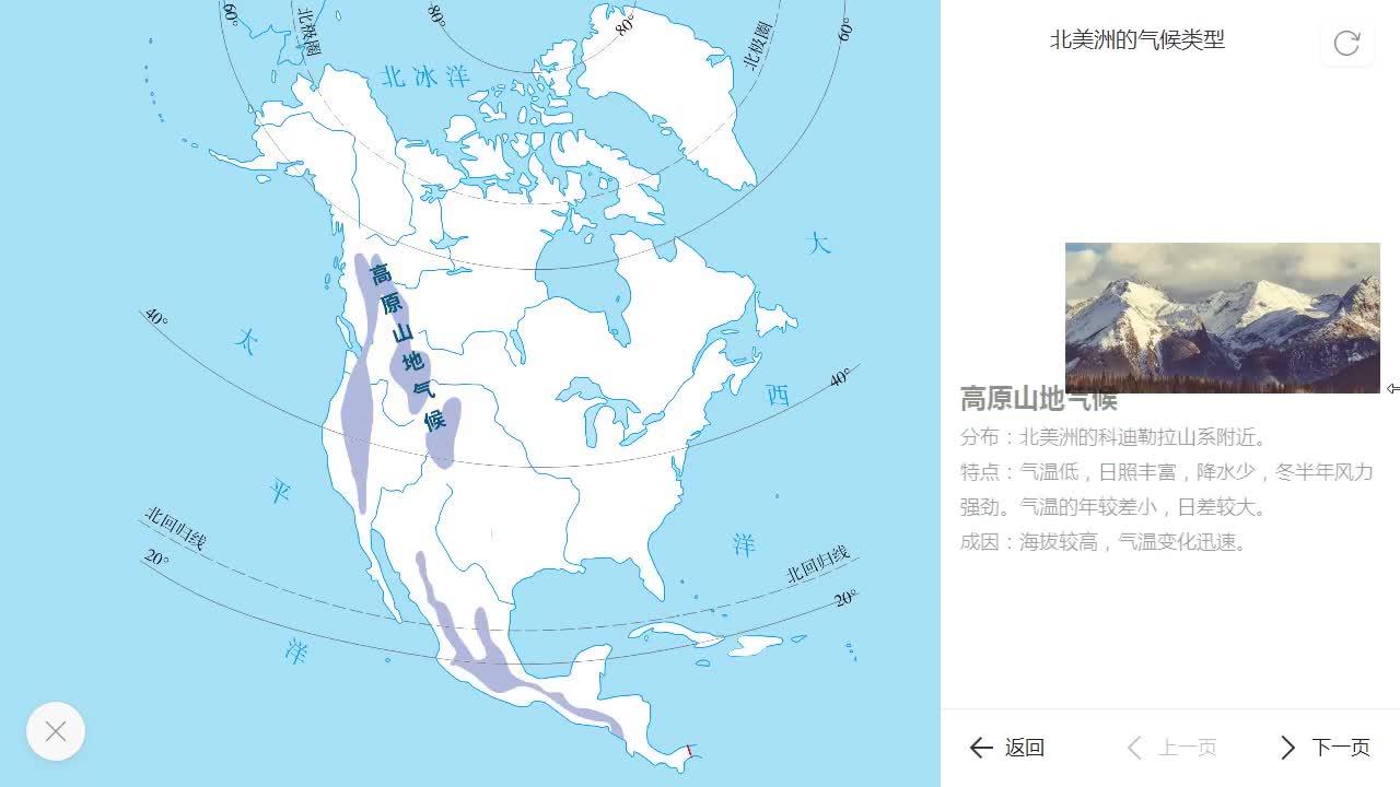 9.1 北美洲的气候类型-【火花学院】人教版七年级地理下册 第九章 西半球的国家 第一节 美国 知识点 美国 [来自e网通客户端]