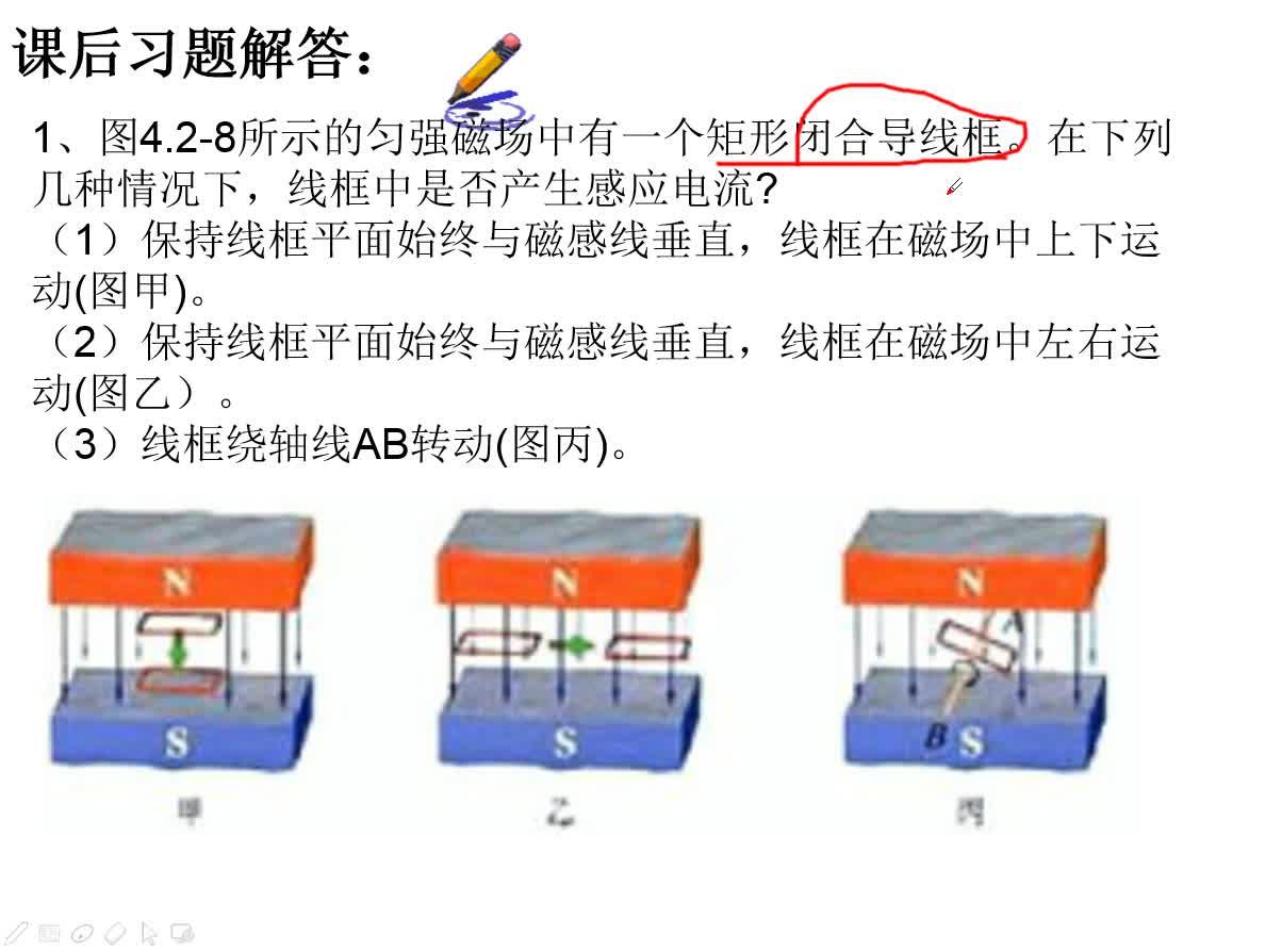 人教版高中物理选修3-2 4.2探究感应电流的产生条件习题讲解1、图4.2-8所示的匀强磁场中有一个矩形闭合导线框。在下列几种情况下,线框中是否产生感应电流? (1)保持线框平面始终与磁感线垂直,线框在磁场中上下运动(图甲)。 (2)保持线框平面始终与磁感线垂直,线框在磁场中左右运动(图乙)。 (3)线框绕轴线AB转动(图丙)。 [来自e网通客户端]