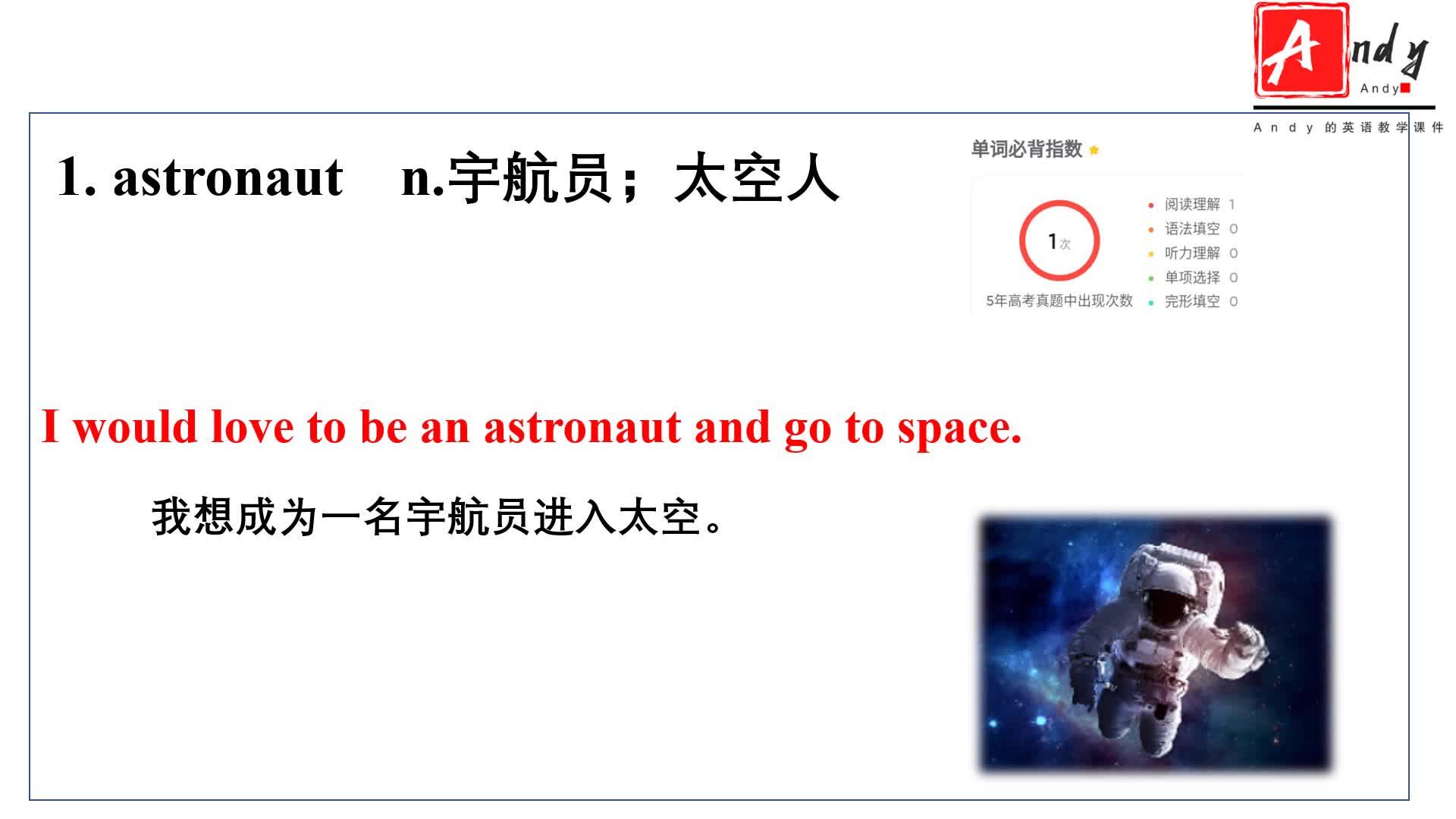 Unit 4 Space exploration 多模态词汇视频【新教材】2020-2021学年人教版(2019)高中英语必修第三册
